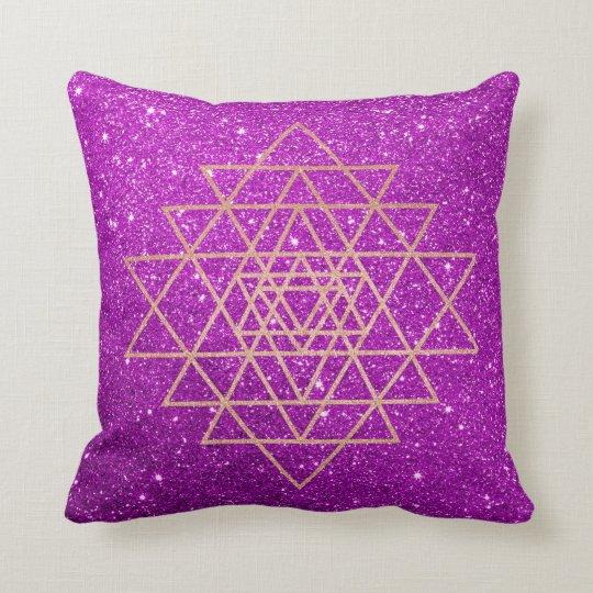 Geometry Peach Pink Rose Gold Purple Glitter Cushion