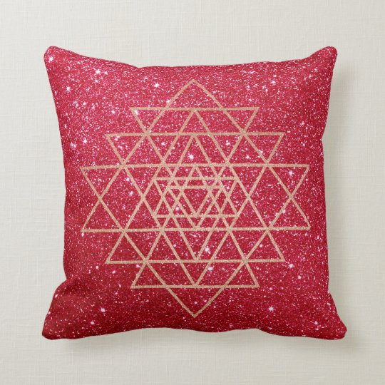 Geometry Peach Pink Rose Gold Triangle Red Glitter