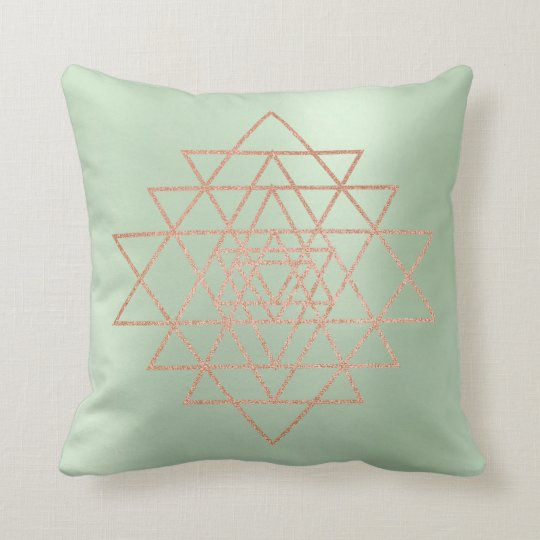 Geometry Peach Pink Rose Gold Triangles Greenery Throw