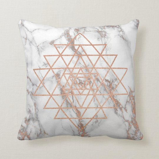 Geometry Peach Pink Rose Gold Triangles Marble Lux
