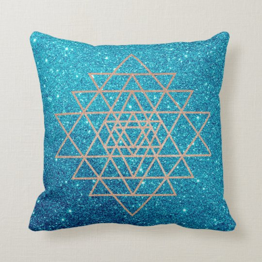 Geometry Peach Pink Rose Gold Turquoise Glitter Cushion