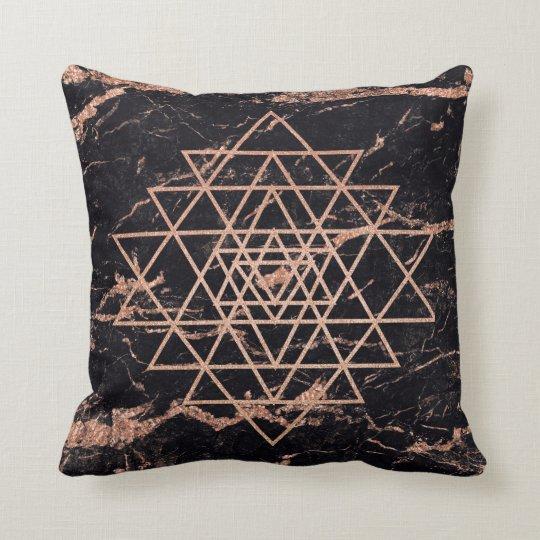 Geometry Peach Rose Gold Triangles Black Marble Cushion