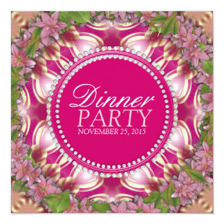 Geometry Pink Lilys Garden Dinner Party Invitation