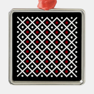 Geometry Red Circle & White Argyle Square Pattern Christmas Ornament