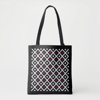 Geometry Red Circle & White Argyle Square Pattern Tote Bag