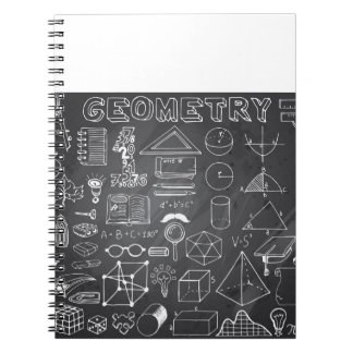 Geometry Science Doodle in Gray Chalkboard Note Book