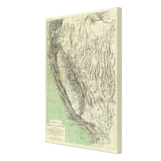 Geomorphic map, California, Nevada Canvas Prints