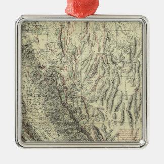 Geomorphic map, California, Nevada Silver-Colored Square Decoration