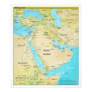 Geopolitical Regional Map of the Middle East Photo Art