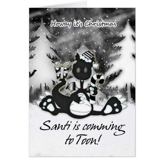Geordie Christmas Card - Black And White Dragon