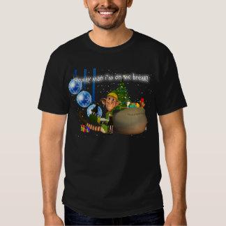 Geordie Christmas T  Elf Drinking Newcie Brown T-shirt