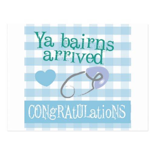 Geordie New Baby Card - Ya Bairns arrived (Boy) Post Cards