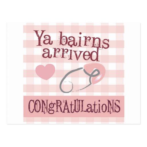 Geordie New Baby Card - Ya Bairns arrived (Girl) Post Card