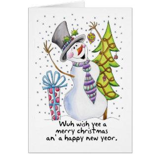 Geordie - Snowman - Happy Snowman - Wuh wish yee a Card