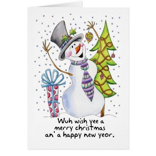 Geordie - Snowman - Happy Snowman - Wuh wish yee a Cards