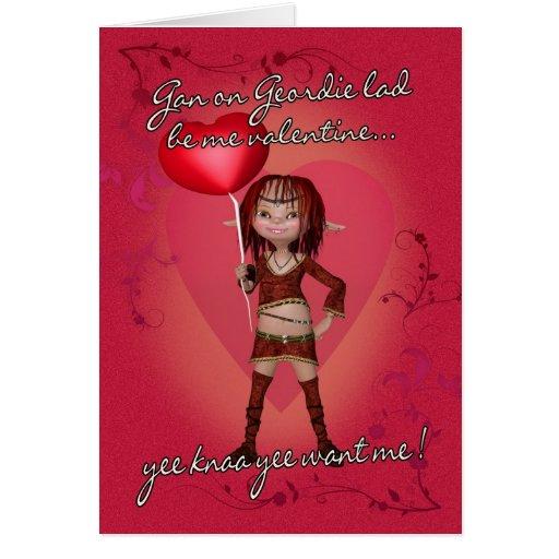 Geordie Valentine's Day Card With Forest Elf