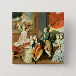 George, 3rd Earl Cowper, with the Family of Charle 15 Cm Square Badge