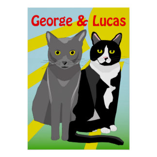 George and Lucas cute cartoon cats poster