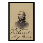 George Armstrong Custer Signed Card 1866 Posters