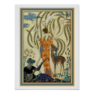 "George Barbier Art Deco ""Girl with Deer"" Print"