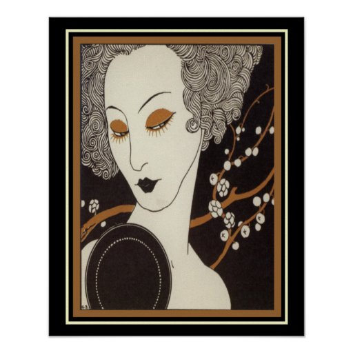 """George Barbier Art Deco """"Girl With Mirror"""" 16"""