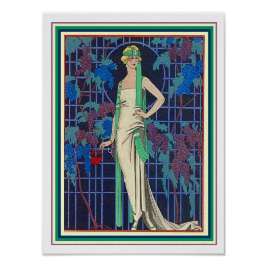 George Barbier Deco Flapper Poster 12 x 16