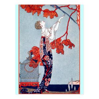 """George Barbier """"L'Oiseau Volage"""" 1914 Postcard"""