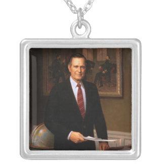 George Bush Square Pendant Necklace