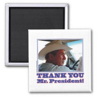 George Bush/Thank you! Square Magnet