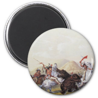 George Catlin - Attacking the Grizzly Bear 6 Cm Round Magnet