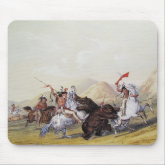 George Catlin - Attacking the Grizzly Bear Mouse Pad