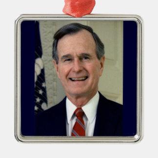 George H. W. Bush 41st President Silver-Colored Square Decoration