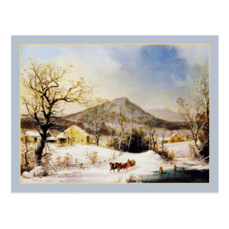 George Henry Durrie: Winter in the Country Postcard