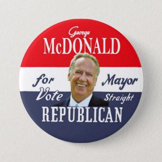 George McDonald NYC Mayor in 2013 7.5 Cm Round Badge
