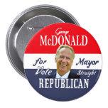 George McDonald NYC Mayor in 2013 Pinback Button