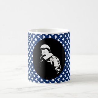 George S. Patton Jr. with Stars Background Basic White Mug