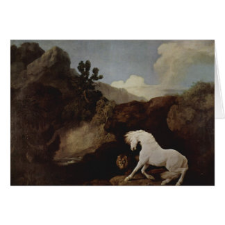 George Stubbs- A Horse Frightened by a Lion Greeting Cards