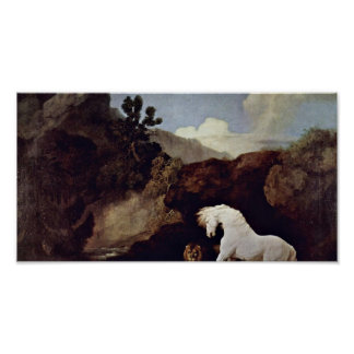 George Stubbs - the frightened horse by a lion Poster