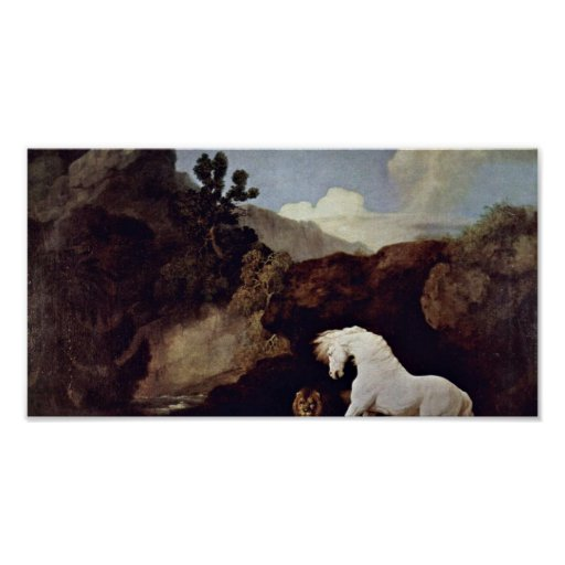 George Stubbs - the frightened horse by a lion Print