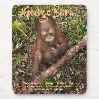 George the rescued Orangutan Orphan Mouse Mat