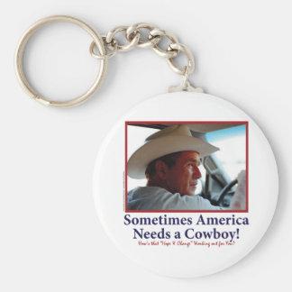 George W Bush in Cowboy Hat Basic Round Button Key Ring