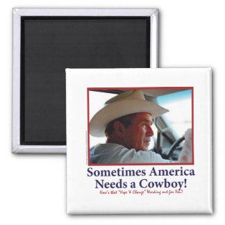 George W Bush in Cowboy Hat Square Magnet