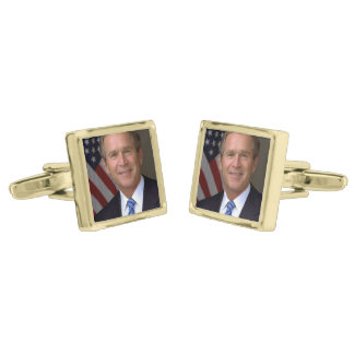 George W. Bush official portrait Gold Finish Cufflinks