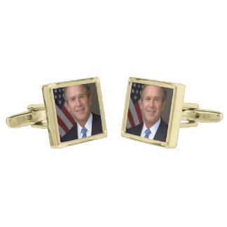 George W. Bush official portrait Gold Finish Cufflinks