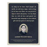 George W. Veditz quote. An ASL classroom poster. Poster