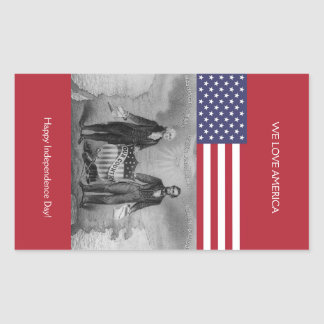 George Washington Abraham Lincoln American Flag Rectangular Sticker