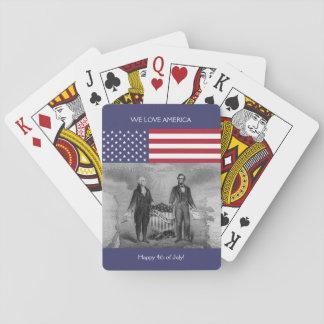 George Washington Abraham Lincoln American Flag US Playing Cards