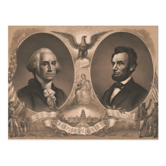 George Washington Abraham Lincoln Eagle US Vintage Postcard