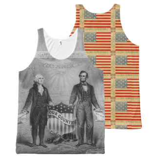 George Washington Abraham Lincoln Patriotic USA All-Over Print Tank Top