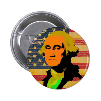 George Washington American Flag Pop-Art Button